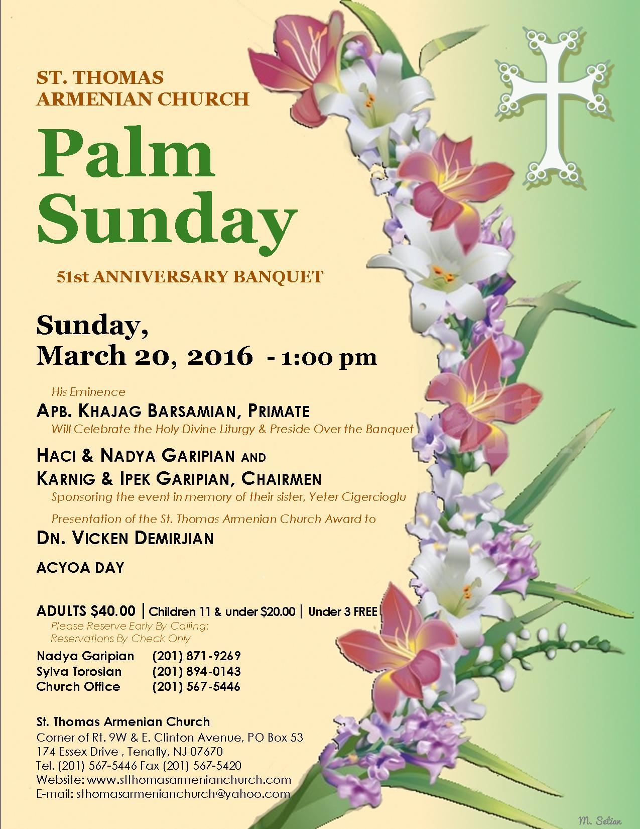 palm sunday st anniversary banquet st thomas n flyer st thomas n church cordially invites you to the
